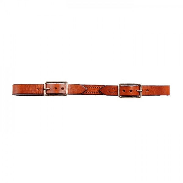 Double Buckle Curb Strap in Antiqued Leather