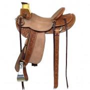 Elk Hide Horn Wrap, Monel Bound Stirrups, Half Breed, Full Double- Bucharoo Style